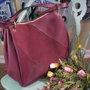 Big Burgundy/Maroon Colored Leather Suede